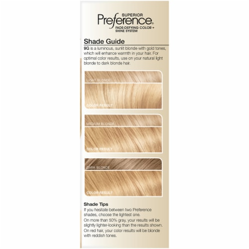 L'Oreal Paris Preference 9G Light Golden Blonde Hair Color Perspective: left