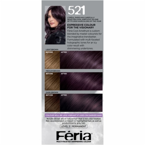 L'Oreal Paris Shimmering 521  Cool Amethyst Permanent Hair Color Kit Perspective: left