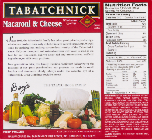 Tabatchnick Macaroni & Cheese Perspective: left