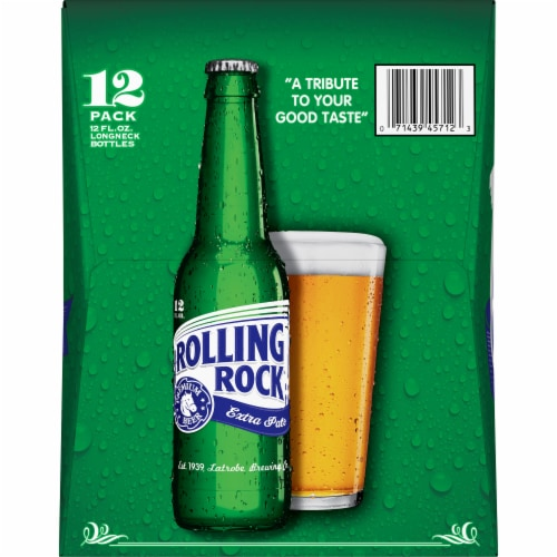 Rolling Rock Extra Pale Beer Perspective: left