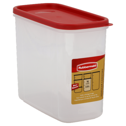 Rubbermaid Modular Canister - Red/Clear Perspective: left