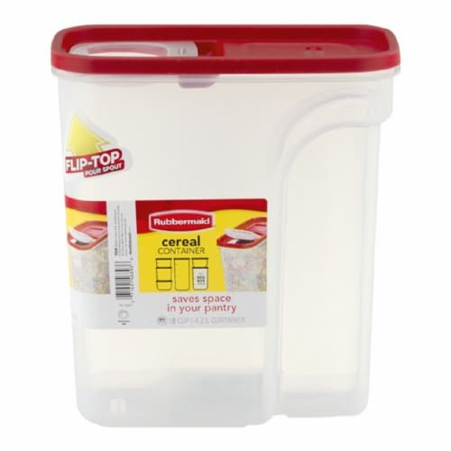 Rubbermaid Modular Cereal Container - Red/Clear Perspective: left