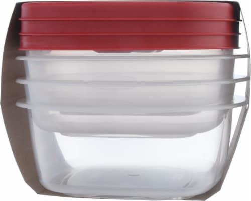Rubbermaid Easy Find Lids Food Storage Containers - Clear/Red Perspective: left