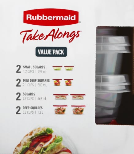 Rubbermaid® Take Alongs Food Storage Container Set - Clear/Ruby Perspective: left