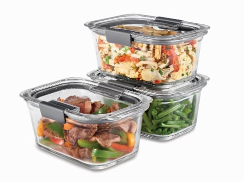 Rubbermaid Brilliance Glass Food Storage Containers Value Pack - 3 Pack -Clear Perspective: left