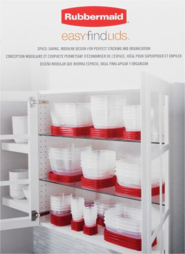 Rubbermaid Easy Find Lids Set - Clear/Red Perspective: left