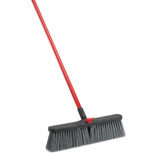 Libman® High Power Rough Surface Push Broom - Gray/Red Perspective: left