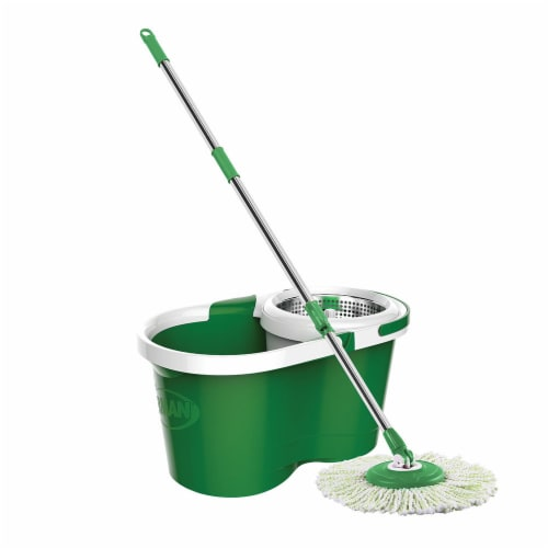 Libman® Spin Mop and Bucket - Green/White Perspective: left