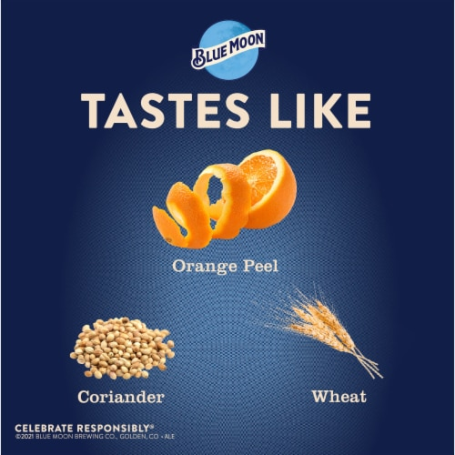 Blue Moon Belgian White Wheat Ale Beer Perspective: left