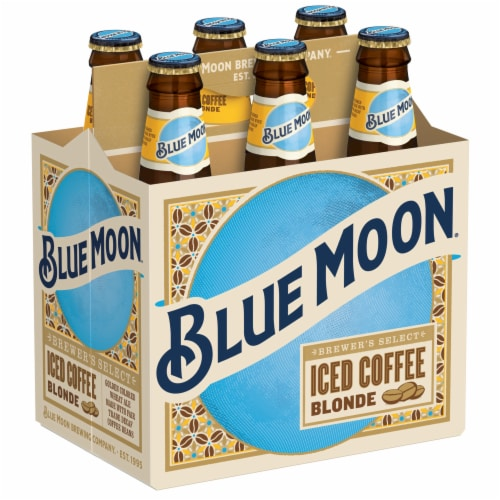 Blue Moon Iced Coffee Blonde Wheat Ale Beer Perspective: left