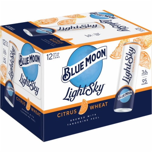 Blue Moon Light Sky Citrus Wheat Beer Perspective: left