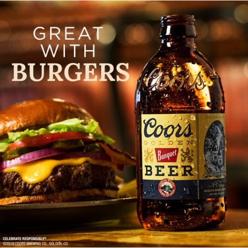 Coors Banquet Lager Beer Perspective: left