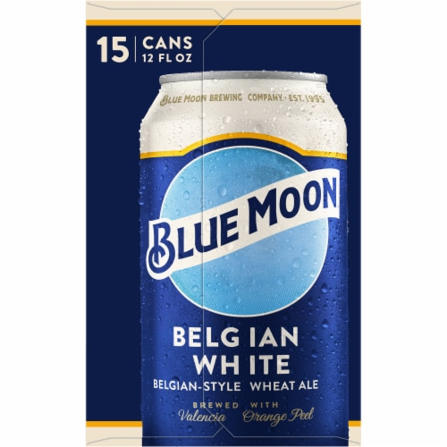 Blue Moon Belgian White Belgian-Style Wheat Ale Beer 15 Cans Perspective: left