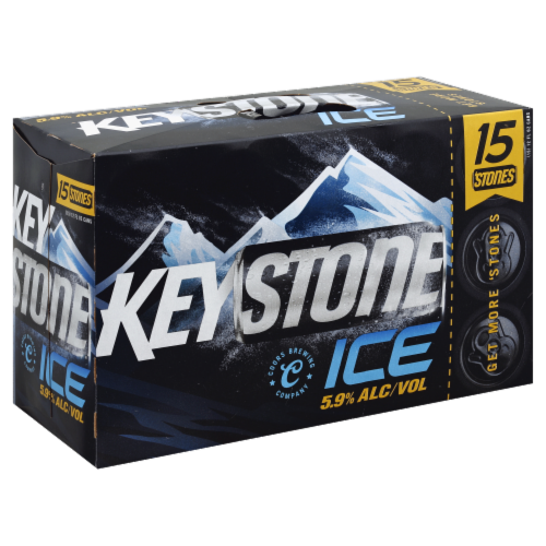 Keystone Ice Lager Beer Perspective: left