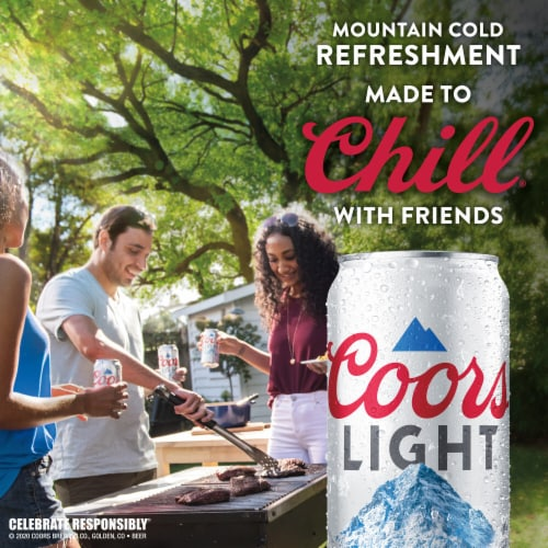 Coors Light American Light Lager Beer 4 Count Perspective: left