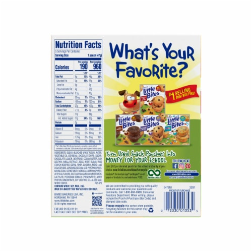 Entenmann's Little Bites Chocolate Chip Muffins Pouches Perspective: left