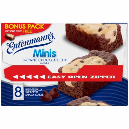 Entenmann's Brownie Chocolate Chip Mini Cakes 8 Count Perspective: left