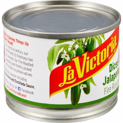 La Victoria Diced Hot Fire Roasted Jalapenos Perspective: left