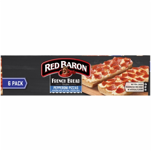 Red Baron Singles French Bread Pepperoni Pizzas Perspective: left