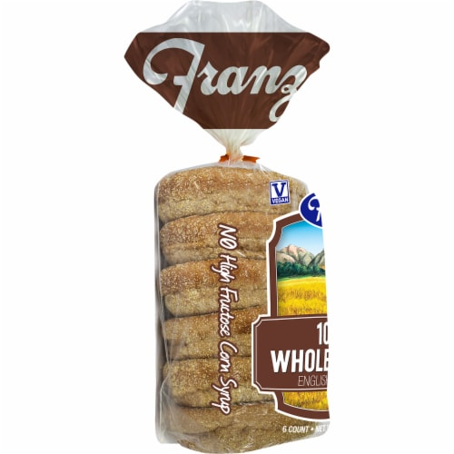 Franz 100% Whole Wheat English Muffins 6 Count Perspective: left