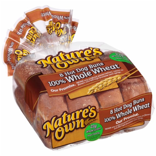 Nature's Own 100% Whole Wheat Hot Dog Buns Perspective: left