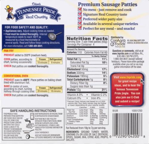 Odom's Tennessee Pride Turkey Sausage Patties Perspective: left
