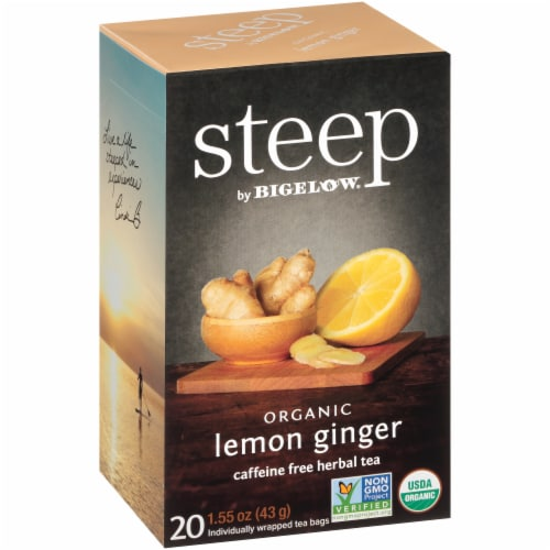 Bigelow Steep Organic Lemon Ginger Herbal Tea Perspective: left