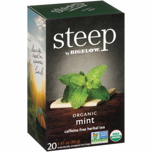 Bigelow Steep Organic Mint Herbal Tea Perspective: left