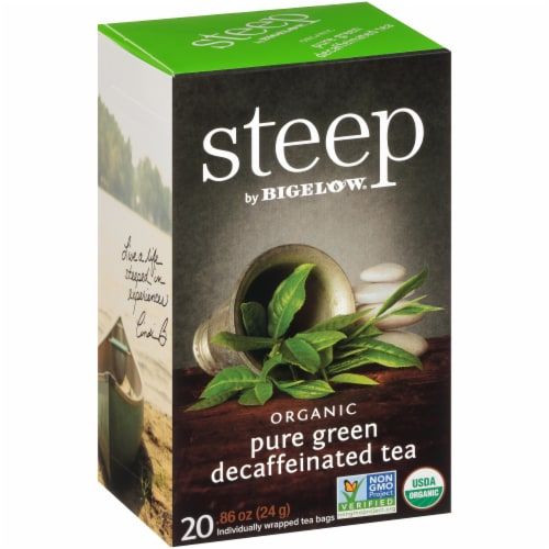Bigelow Steep Organic Pure Green Decaffeinated Tea Perspective: left