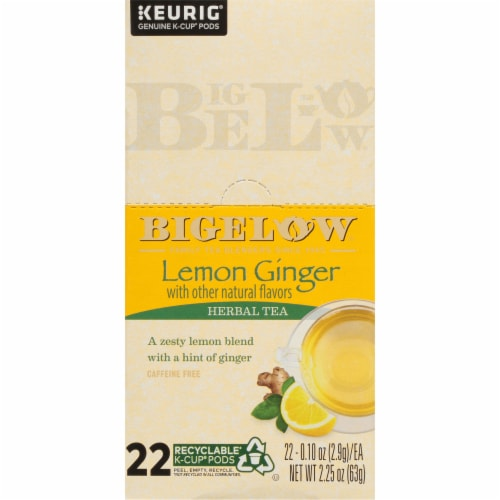 Bigelow Lemon Ginger Herbal Tea K-Cup Pods Perspective: left