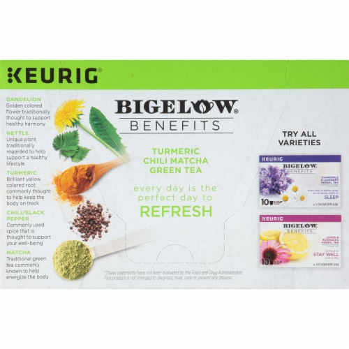 Bigelow Turmeric Chili Matcha Green Tea Herbal Tea K-Cup® Pods Perspective: left