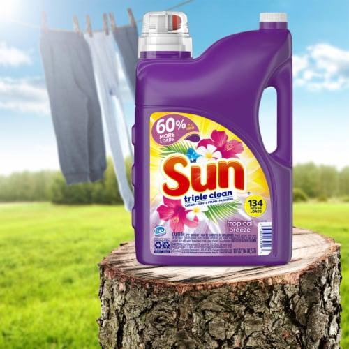 Sun Triple Clean Tropical Breeze Liquid Laundry Detergent Perspective: left