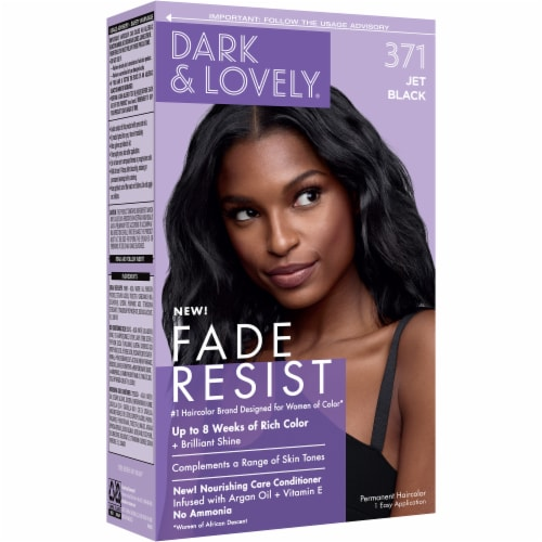 Dark & Lovely 371 Jet Black Fade Resist Hair Color Perspective: left