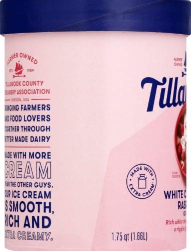 Tillamook White Chocolate Raspberry Ice Cream Perspective: left