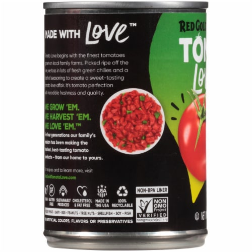 Red Gold Tomato Love Mild Diced Tomatoes + Green Chilies Perspective: left