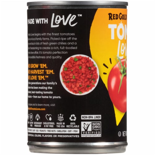 Red Gold Tomato Love Original Tomatoes Diced with Green Chilies Perspective: left