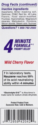 Nauzene 4 Minute Formula Wild Cherry Chewable Tablets Perspective: left