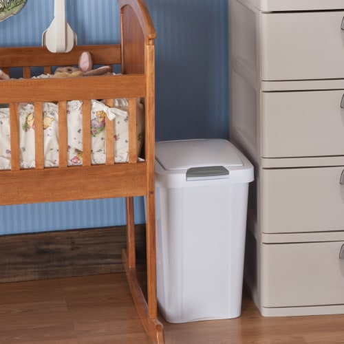 Sterilite 10438004 28 Ltr. Touch Top Wastebasket Can White Perspective: left
