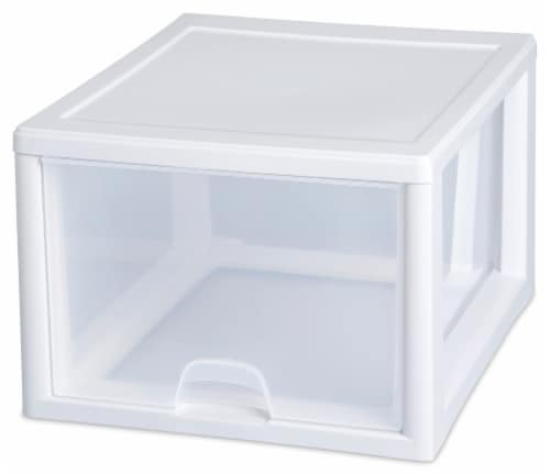 Sterilite Individual Stacking Drawer - Clear/White Perspective: left