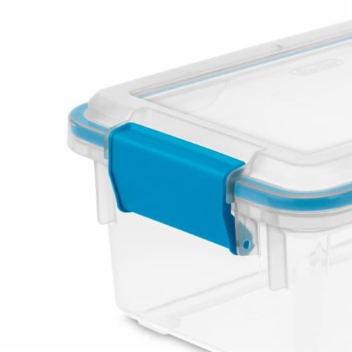 Sterilite Gasket Box - Blue Aquarium/Clear Perspective: left