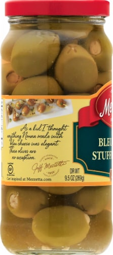 Mezzetta Blue Cheese Stuffed Olives Perspective: left