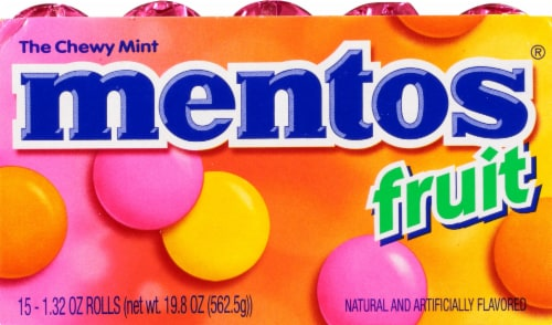 Mentos Mixed Fruit Chewy Mints Perspective: left