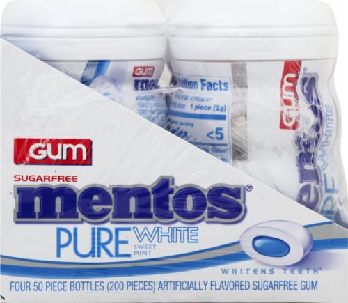Mentos Pure White Sweet Mint Sugar-Free Gum Perspective: left
