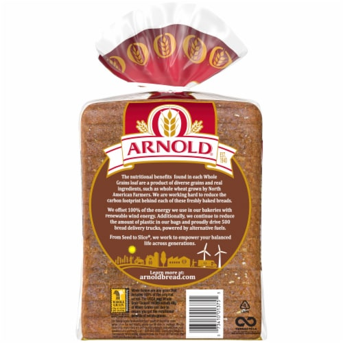 Arnold® Whole Grains 100% Whole Wheat Sliced Bread Perspective: left