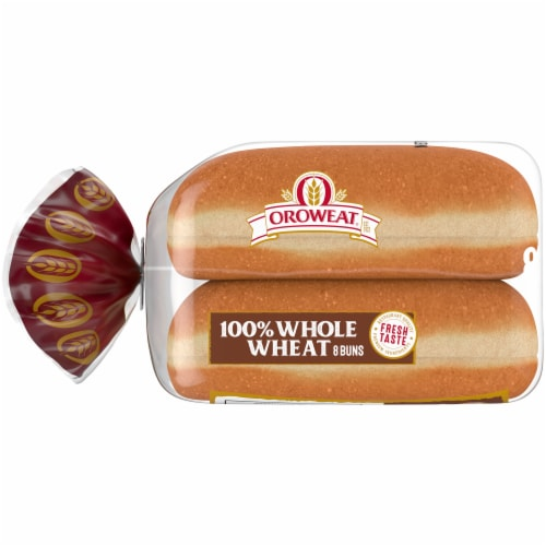 Oroweat 100% Whole Wheat Hot Dog Buns Perspective: left