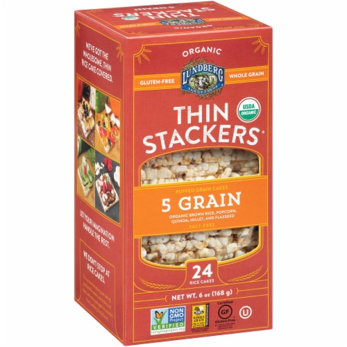 Lundberg Organic 5 Grain Thin Stackers Puffed Grain Cakes Perspective: left