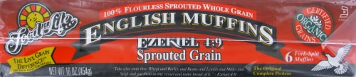 Food For Life Ezekiel 4:9 Sprouted Grain English Muffins Perspective: left