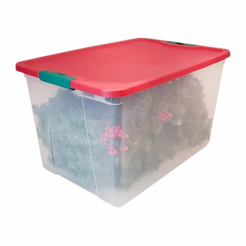 Homz 64 Qt Secure Latching Large Clear Plastic Storage Container Bin w/ Red Lid Perspective: left