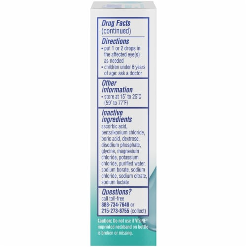 Visine Tears Dry Eye Relief Lubricant Eye Drops Perspective: left