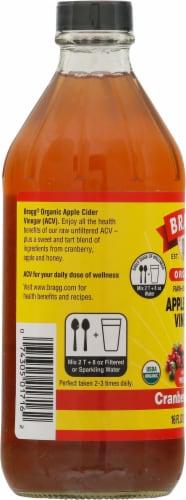 Bragg Organic Cranberry Apple Enhanced Apple Cider Vinegar Perspective: left